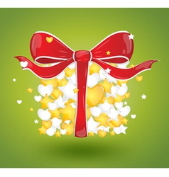 Gift with hearts and stars on a green background vector image