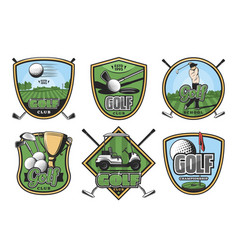 golf sport retro badge with club ball and golfer vector image