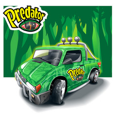 Green cartoon patern off-road car on forest vector