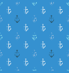 Grunge seamless pattern with anchor imprints vector