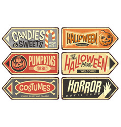 halloween events retro signs collection vector image