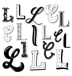 hand drawn set different writing styles vector image