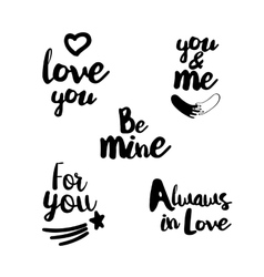 Hand lettering set about love vector image vector image