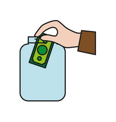 Hand with money bill icon vector