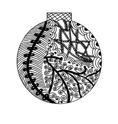 Handdrawn ball in black and white vector