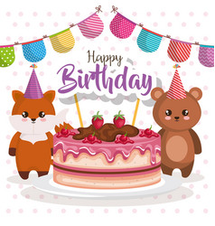 Happy birthday card with bear teddy and fox vector