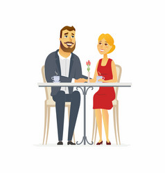 Happy couple on a date - cartoon people character vector