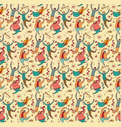 happy jumping young people seamless pattern vector image