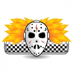 hockey mask on fire vector image vector image
