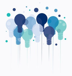 Idea concept of hanging blue light bulbs vector image