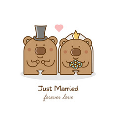 just married couple of bears vector image