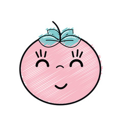 Kawaii nice happy tomato vegetable vector