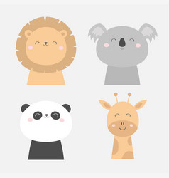 Lion koala panda bear giraffe face head icon set vector