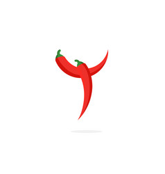 logo red chili pepper letter y vector image