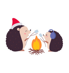 lovely hedgehogs roasting marshmallows over vector image