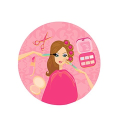 Make-up girl vector image