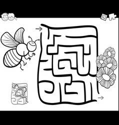 Maze with bee coloring page vector