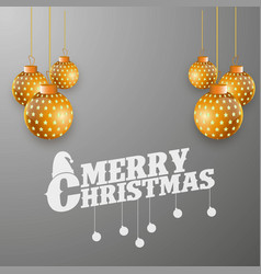 merry christmas golden ball on grey background vector image
