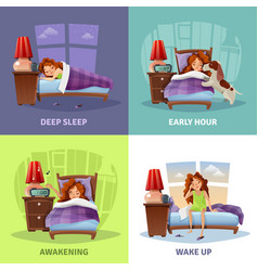 Morning awakening 2x2 design concept vector