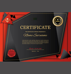 Official black certificate with red black triangle vector