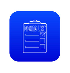 Packing list icon blue vector