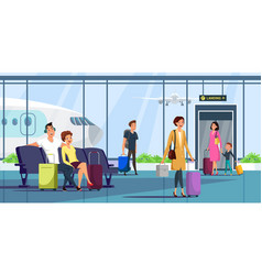 People at airport terminal flat vector