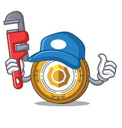 Plumber komodo coin mascot cartoon vector