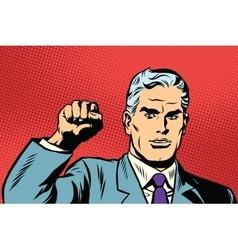 Politician protest solidarity gesture up fist vector