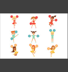 Primary school little girls in cheerleaders vector