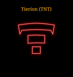 Red neon tierion tnt cryptocurrency symbol vector