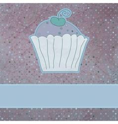 Retro card cupcake vector
