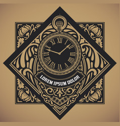 retro label with hand watch element vector image