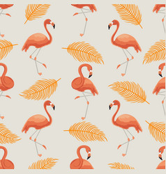 seamless pattern orange flamingos and leaves vector image