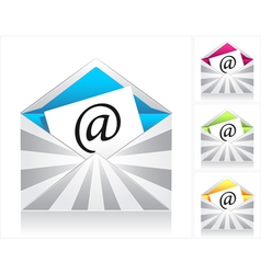 Set envelopes with silver rays and symbol email vector