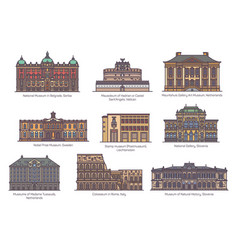 set isolated museums and gallery europe vector image