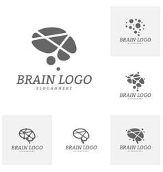 set of brain logo template brain logo concepts vector image