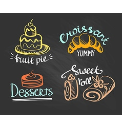 Set of labels logos for restaurant menu on the vector
