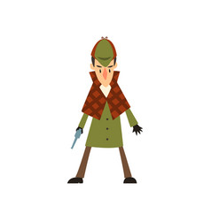 Sherlock holmes detective character with gun vector
