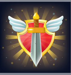 shield with sword stars and wings vector image
