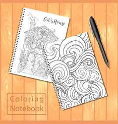 spiral bound notepads or coloring book with pen vector image