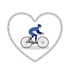 sports bike in chain heart isolated icon design vector image