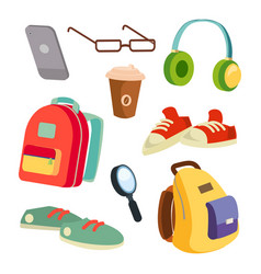 students items accessories set colorful vector image