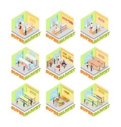 Supermarket interior set isometric vector