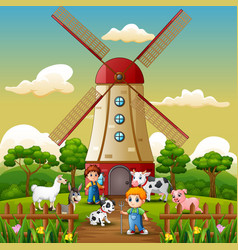 Two boy are working again in front of windmill bac vector