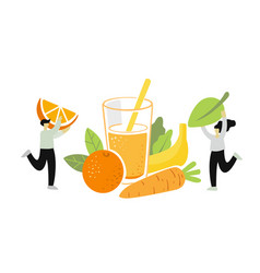 two people pick fruits and green leaf for juice vector image
