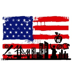 USA flag and silhouettes vector image
