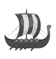 Viking s ship icon in monochrome style isolated on vector image