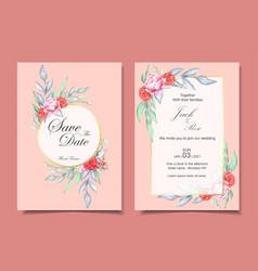 wedding invitation set watercolor floral vector image