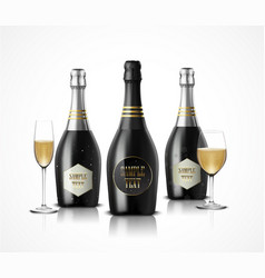 wineglass with black wine bottles of champagne vector image