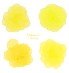 yellow watercolor blotch set of yellow watercolor vector image